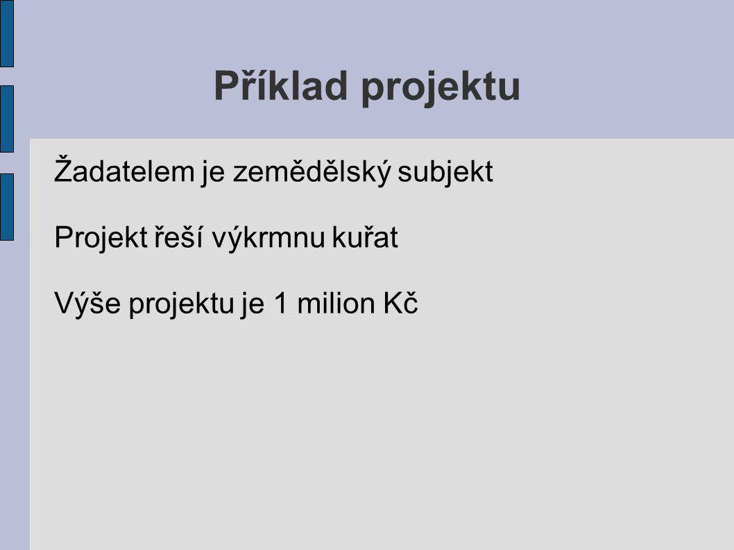 Příklad projektu Žadatelem je zemědělský subjekt Projekt řeší výkrmnu kuřat Výše projektu je 1 milion Kč