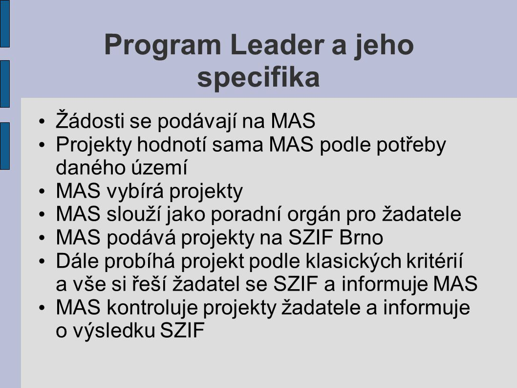 Program Leader a jeho specifika