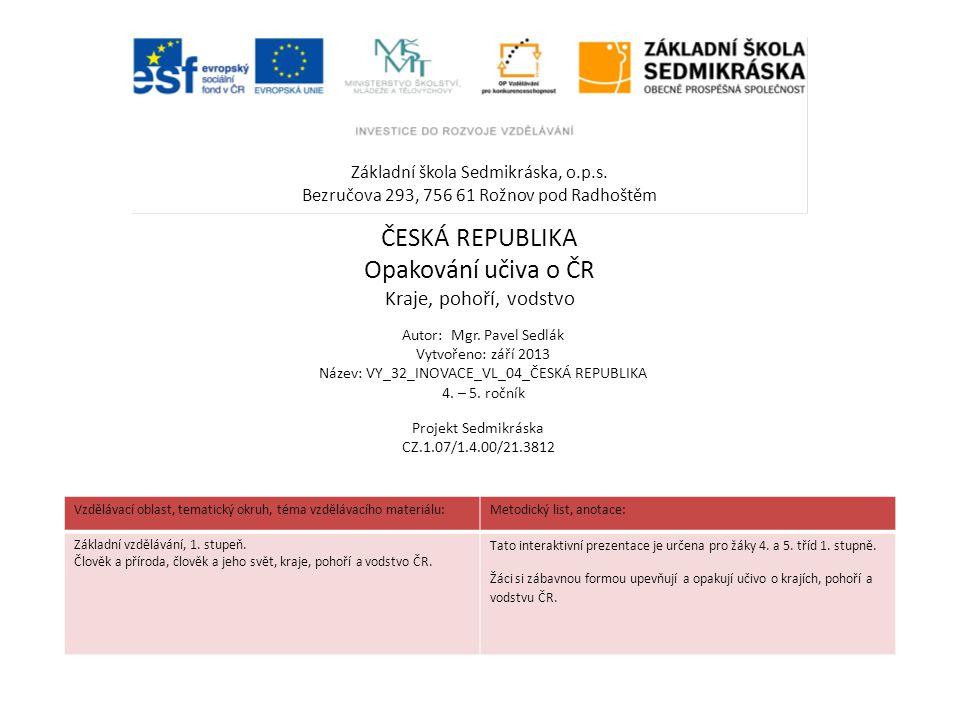 ČESKÁ REPUBLIKA Opakování učiva o ČR Kraje, pohoří, vodstvo