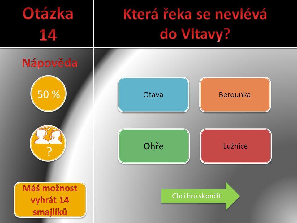 Která řeka se nevlévá do Vltavy Máš možnost vyhrát 14 smajlíků