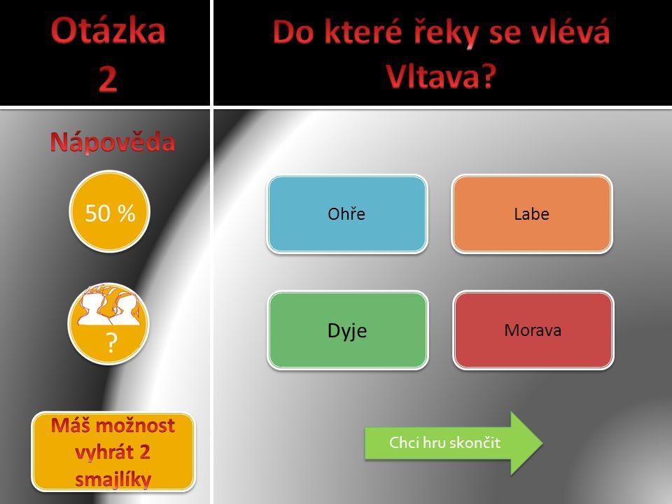 Do které řeky se vlévá Vltava Máš možnost vyhrát 2 smajlíky