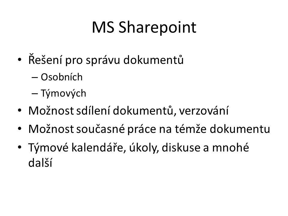 MS Sharepoint Řešení pro správu dokumentů