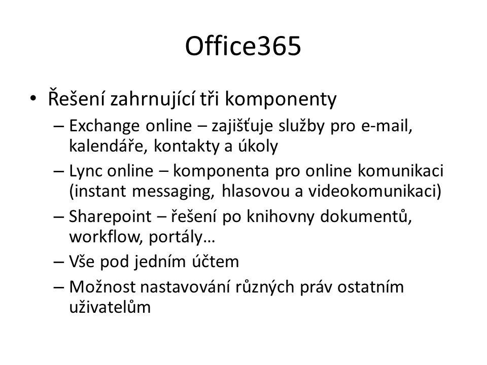 Office365 Řešení zahrnující tři komponenty