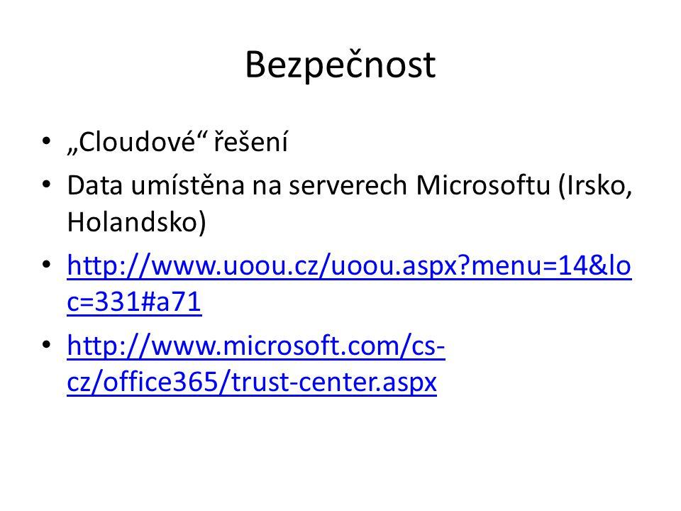 """Bezpečnost """"Cloudové řešení"""