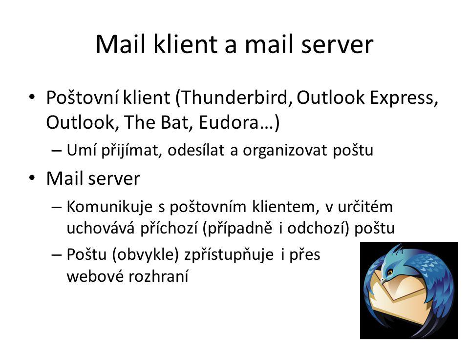 Mail klient a mail server