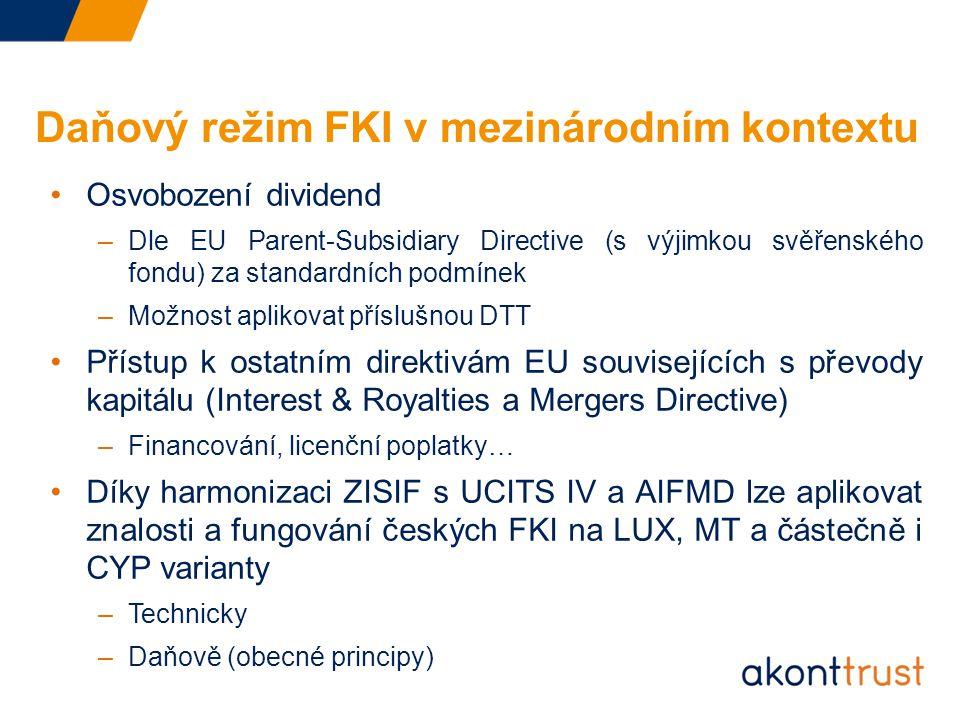 Daňový režim FKI v mezinárodním kontextu