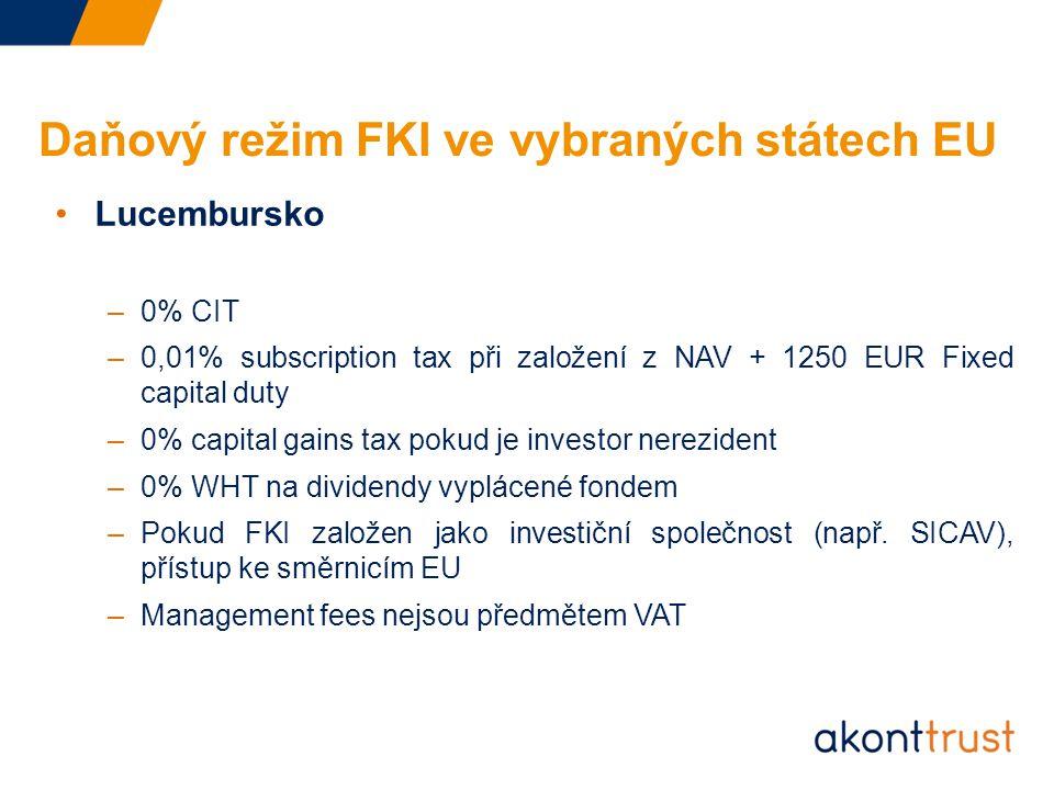 Daňový režim FKI ve vybraných státech EU