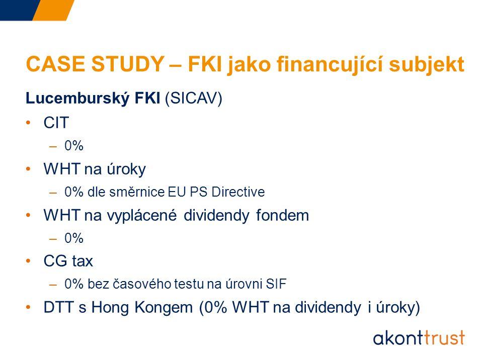 CASE STUDY – FKI jako financující subjekt