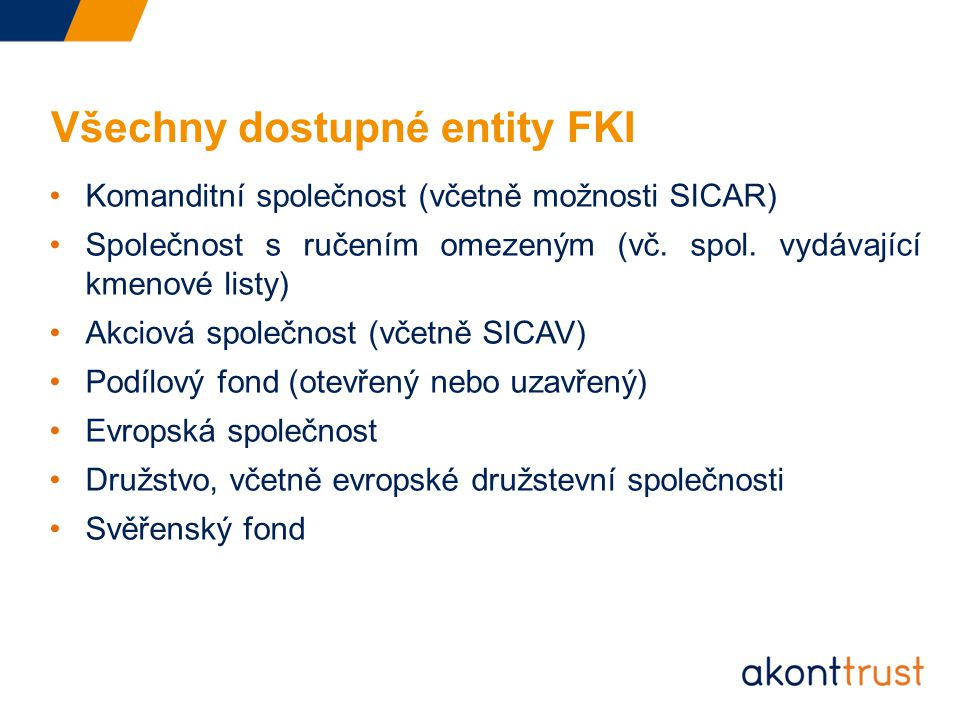 Všechny dostupné entity FKI
