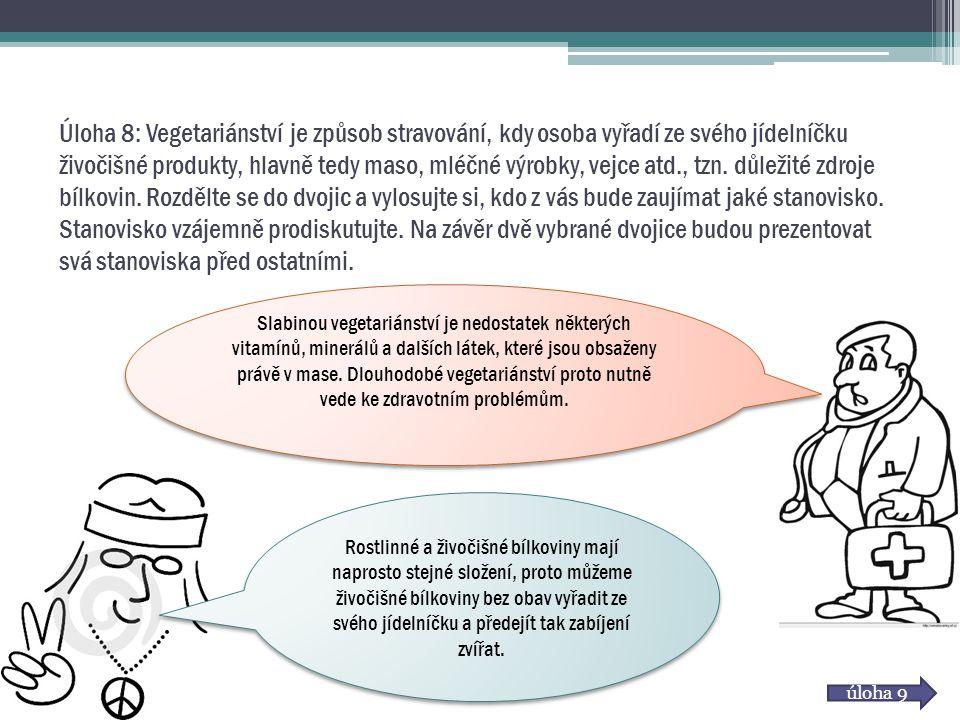 Úloha 8: Vegetariánství je způsob stravování, kdy osoba vyřadí ze svého jídelníčku živočišné produkty, hlavně tedy maso, mléčné výrobky, vejce atd., tzn. důležité zdroje bílkovin. Rozdělte se do dvojic a vylosujte si, kdo z vás bude zaujímat jaké stanovisko. Stanovisko vzájemně prodiskutujte. Na závěr dvě vybrané dvojice budou prezentovat svá stanoviska před ostatními.