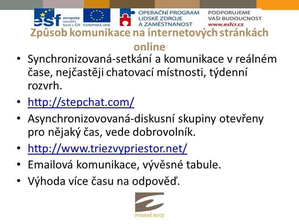 Způsob komunikace na internetových stránkách online