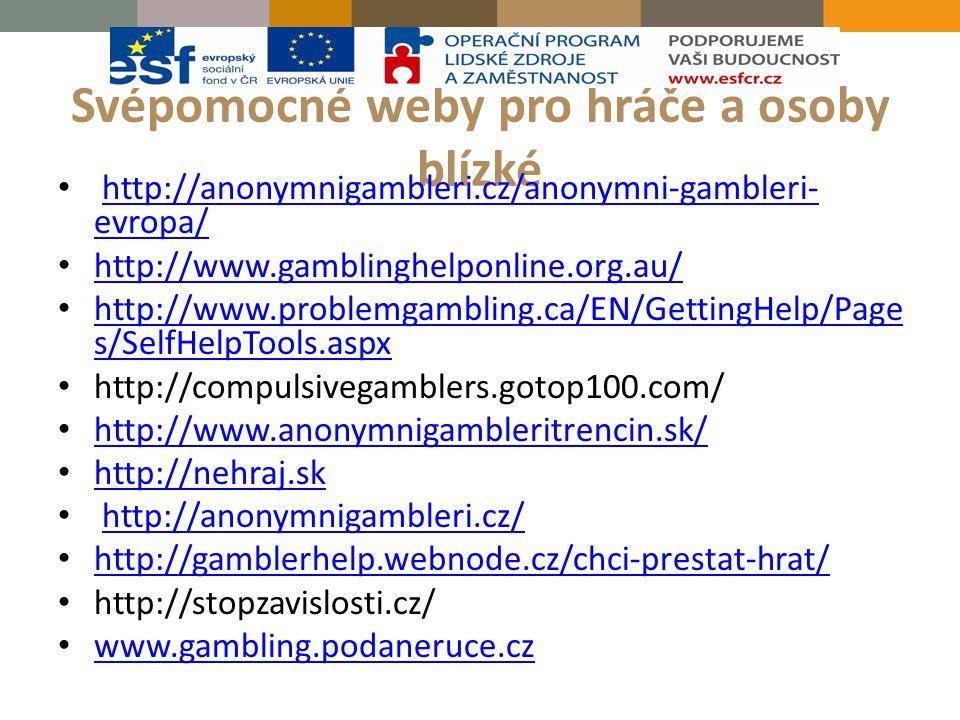 Svépomocné weby pro hráče a osoby blízké