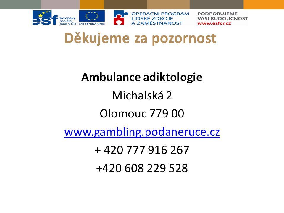 Děkujeme za pozornost Ambulance adiktologie Michalská 2 Olomouc 779 00 www.gambling.podaneruce.cz + 420 777 916 267 +420 608 229 528