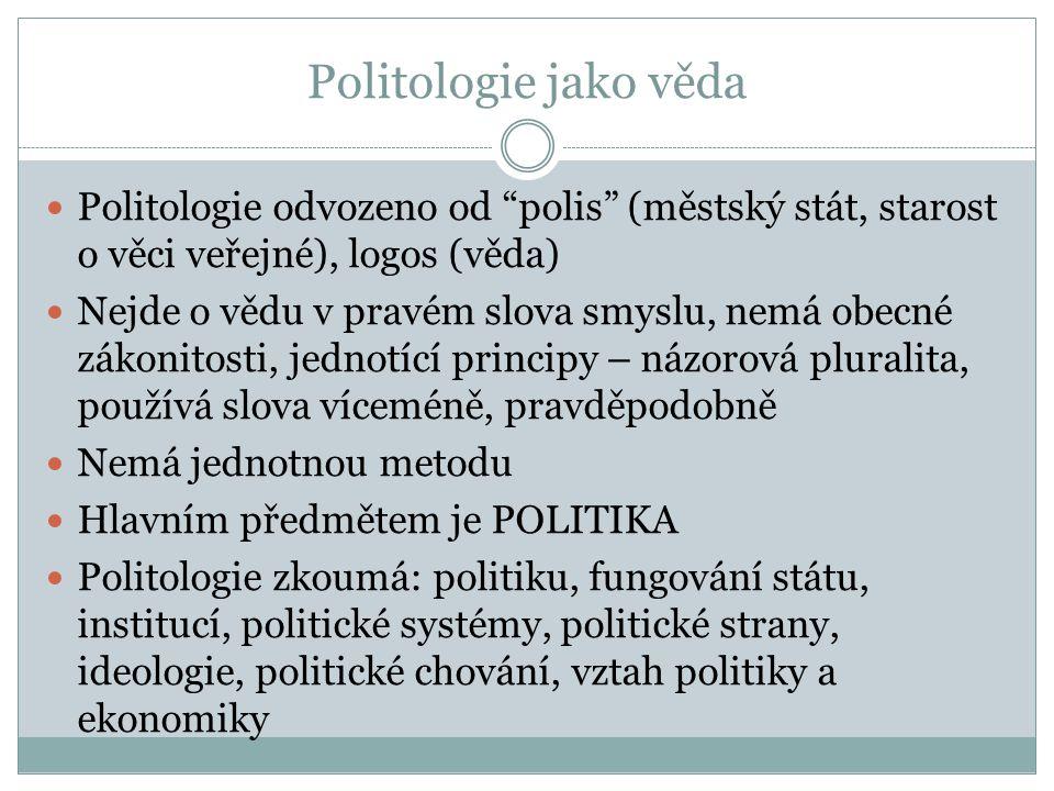 Politologie jako věda Politologie odvozeno od polis (městský stát, starost o věci veřejné), logos (věda)