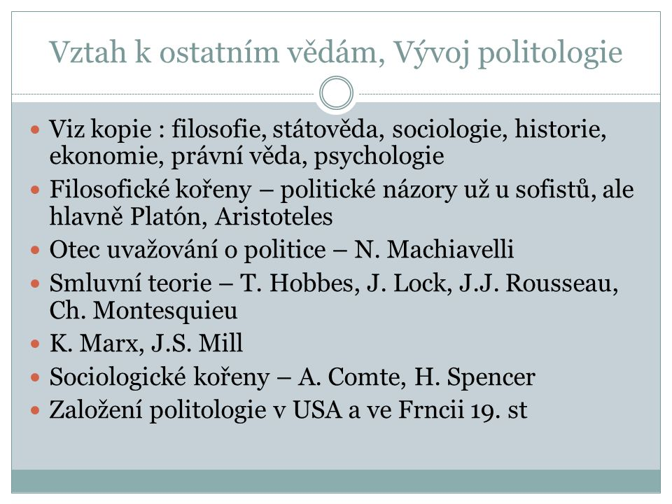 Vztah k ostatním vědám, Vývoj politologie