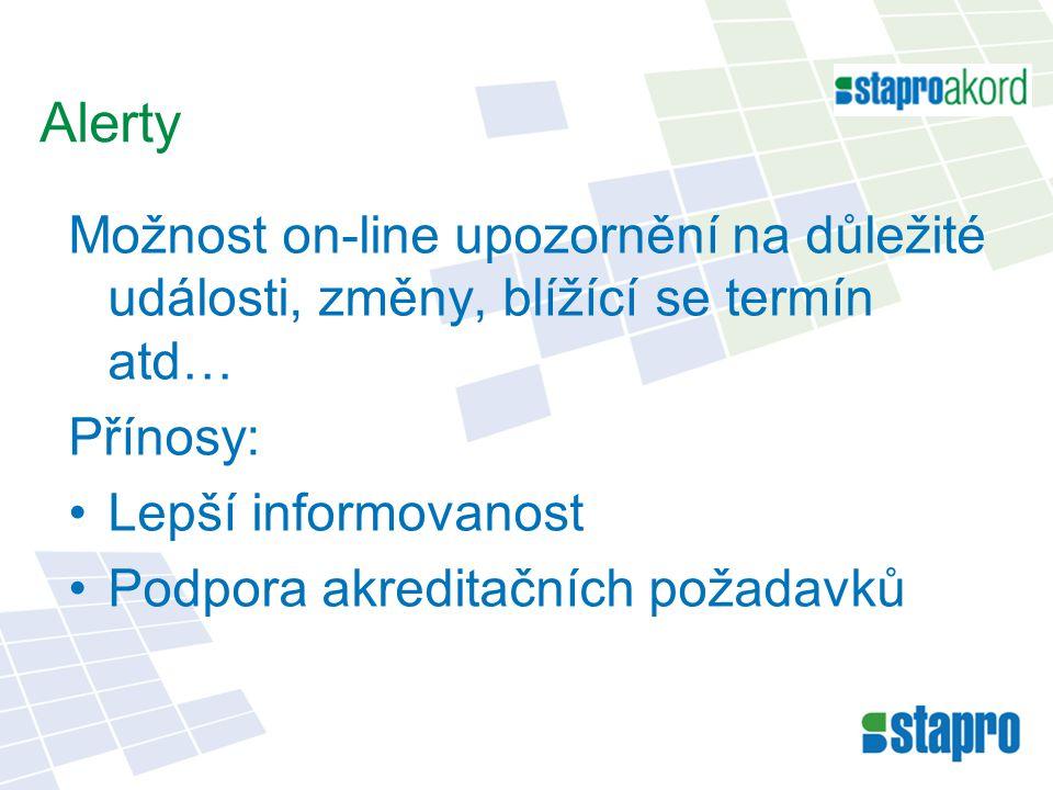 Alerty Možnost on-line upozornění na důležité události, změny, blížící se termín atd… Přínosy: Lepší informovanost.