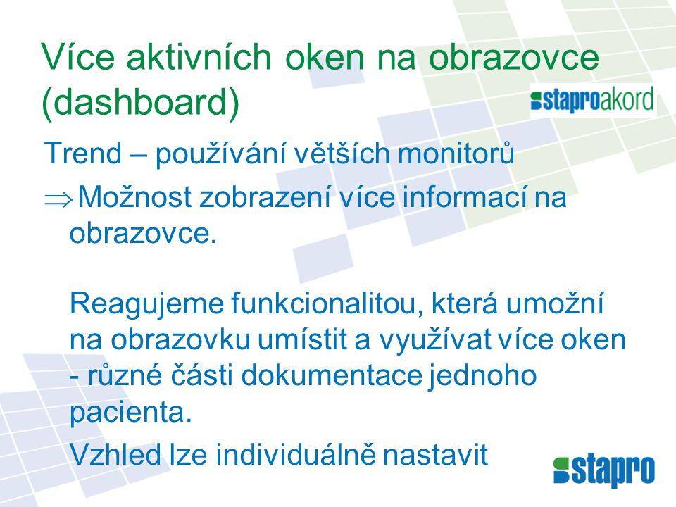 Více aktivních oken na obrazovce (dashboard)