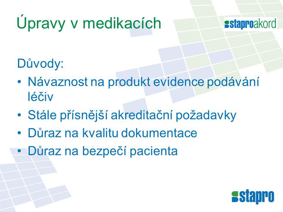Úpravy v medikacích Důvody: