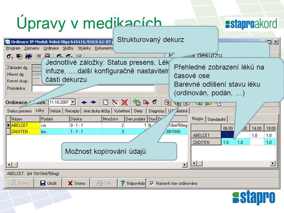 Úpravy v medikacích Strukturovaný dekurz Hlavička dekurzu