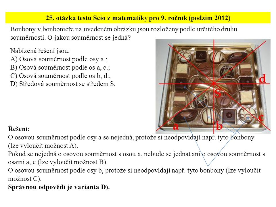 25. otázka testu Scio z matematiky pro 9. ročník (podzim 2012)