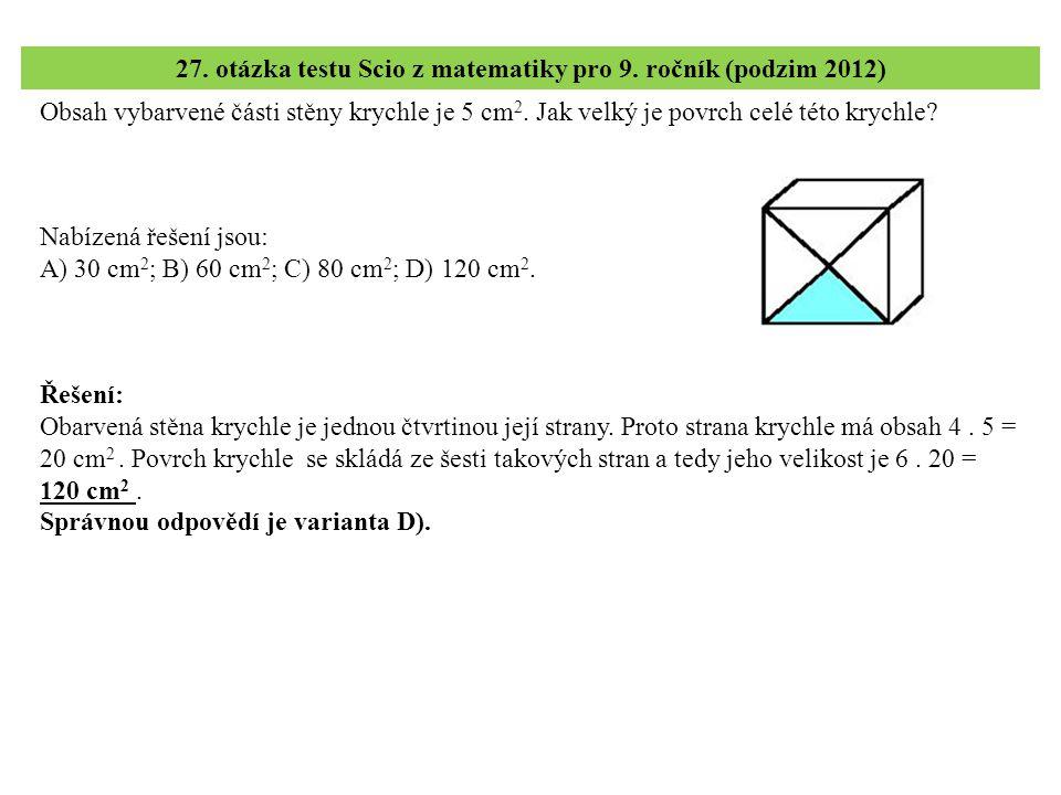 27. otázka testu Scio z matematiky pro 9. ročník (podzim 2012)