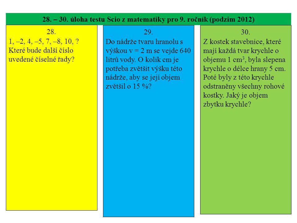 28. – 30. úloha testu Scio z matematiky pro 9. ročník (podzim 2012)