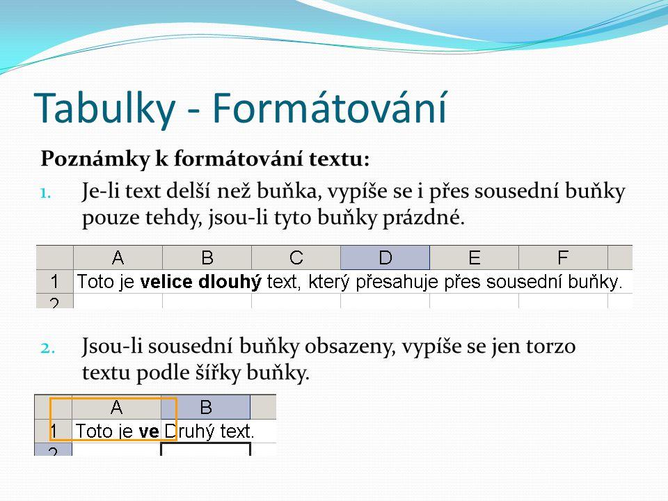 Tabulky - Formátování Poznámky k formátování textu: