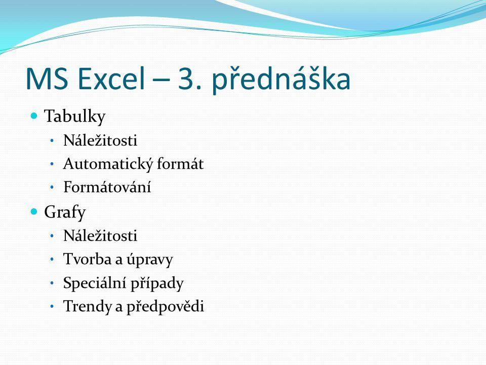 MS Excel – 3. přednáška Tabulky Grafy Náležitosti Automatický formát