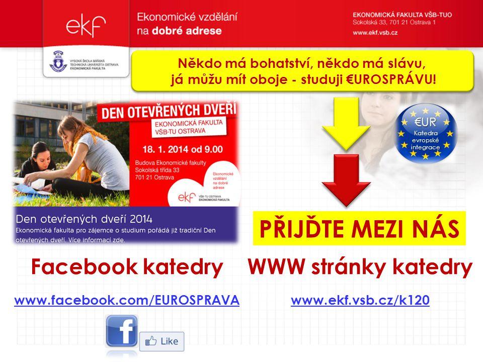 PŘIJĎTE MEZI NÁS Facebook katedry WWW stránky katedry