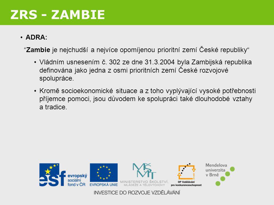 ZRS - ZAMBIE ADRA: Zambie je nejchudší a nejvíce opomíjenou prioritní zemí České republiky