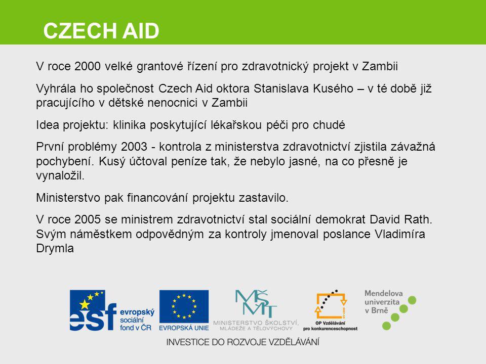 CZECH AID V roce 2000 velké grantové řízení pro zdravotnický projekt v Zambii.