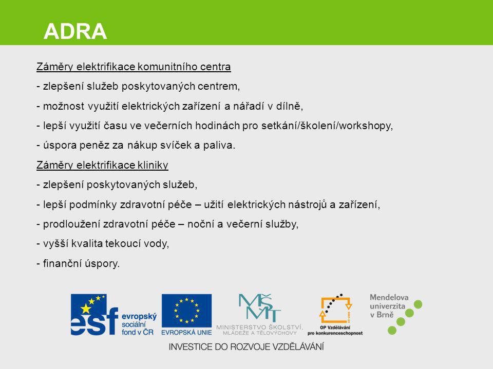 ADRA Záměry elektrifikace komunitního centra