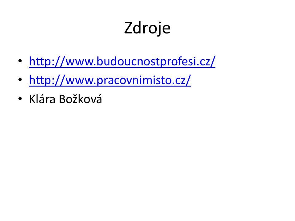 Zdroje http://www.budoucnostprofesi.cz/ http://www.pracovnimisto.cz/