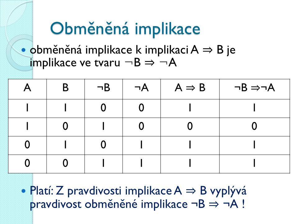 Obměněná implikace obměněná implikace k implikaci A ⇒ B je implikace ve tvaru ¬B ⇒ ¬A.