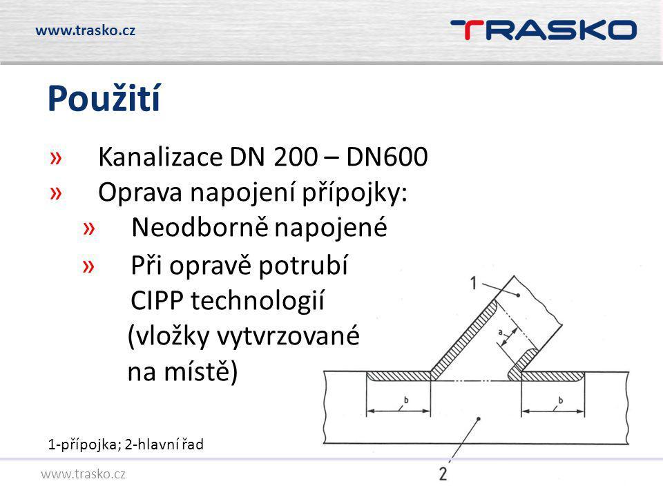 Použití Kanalizace DN 200 – DN600 Oprava napojení přípojky: