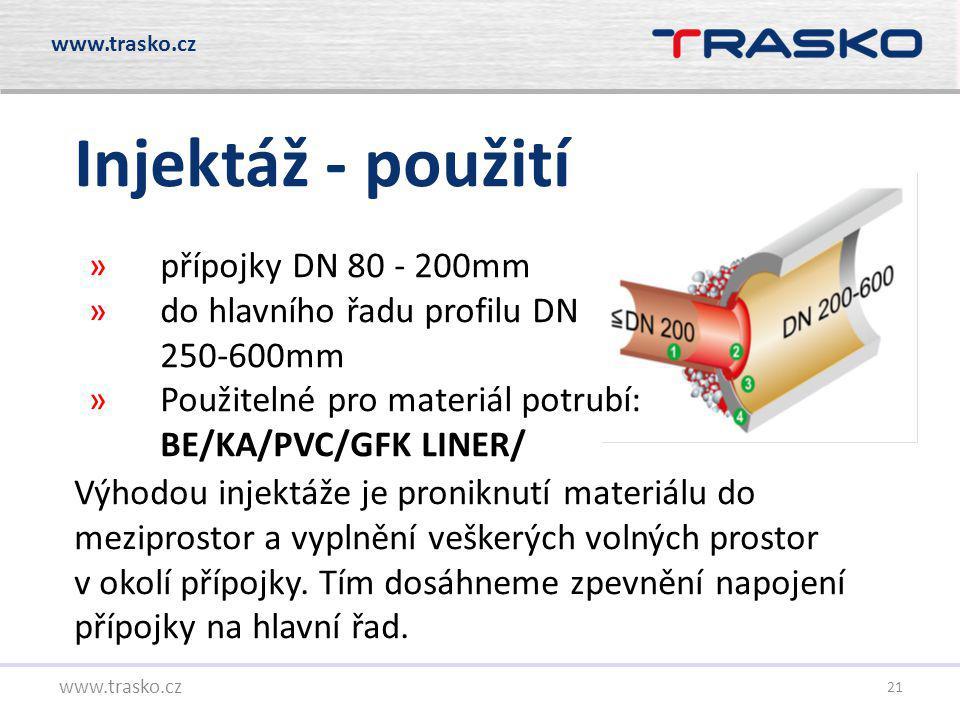 Injektáž - použití přípojky DN 80 - 200mm