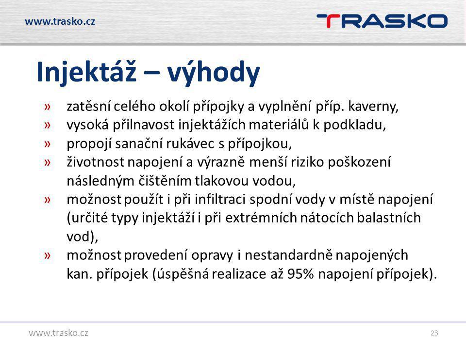 www.trasko.cz Injektáž – výhody. zatěsní celého okolí přípojky a vyplnění příp. kaverny, vysoká přilnavost injektážích materiálů k podkladu,
