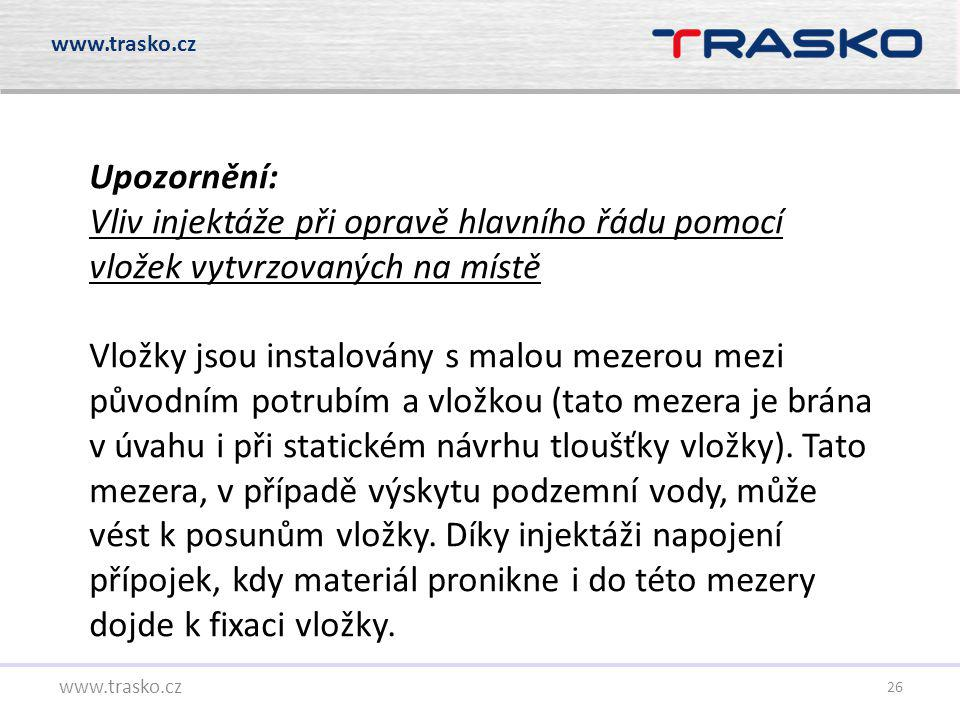 www.trasko.cz Upozornění: Vliv injektáže při opravě hlavního řádu pomocí vložek vytvrzovaných na místě.