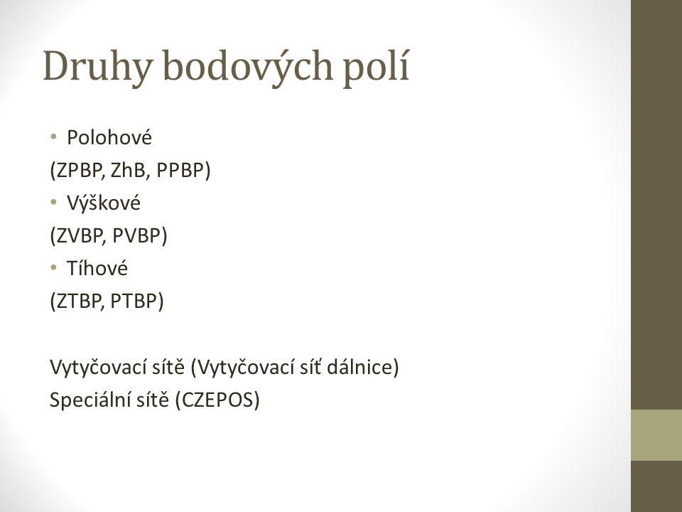 Druhy bodových polí Polohové (ZPBP, ZhB, PPBP) Výškové (ZVBP, PVBP)