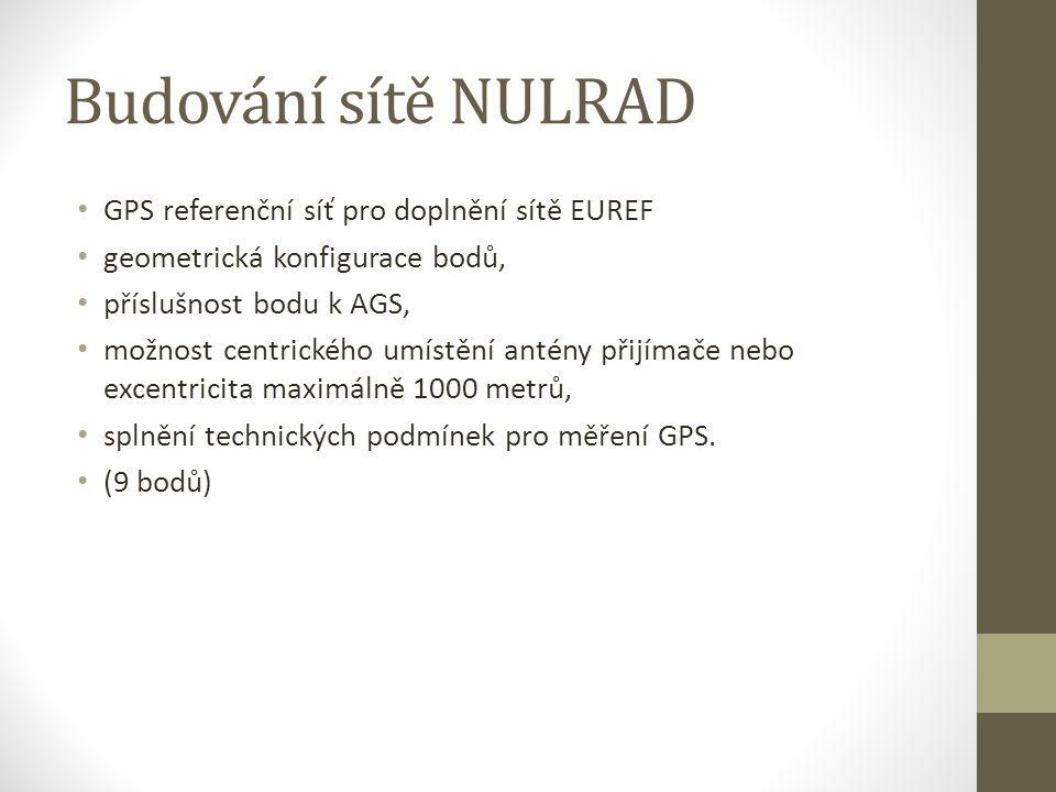 Budování sítě NULRAD GPS referenční síť pro doplnění sítě EUREF