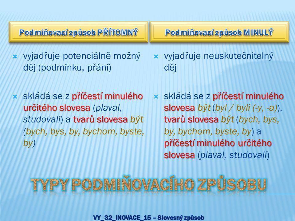 Typy podmiňovacího způsobu VY_32_INOVACE_15 – Slovesný způsob