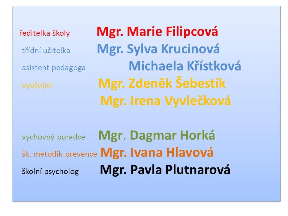 ředitelka školy Mgr. Marie Filipcová třídní učitelka Mgr