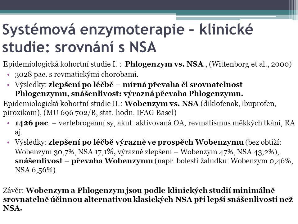 Systémová enzymoterapie – klinické studie: srovnání s NSA