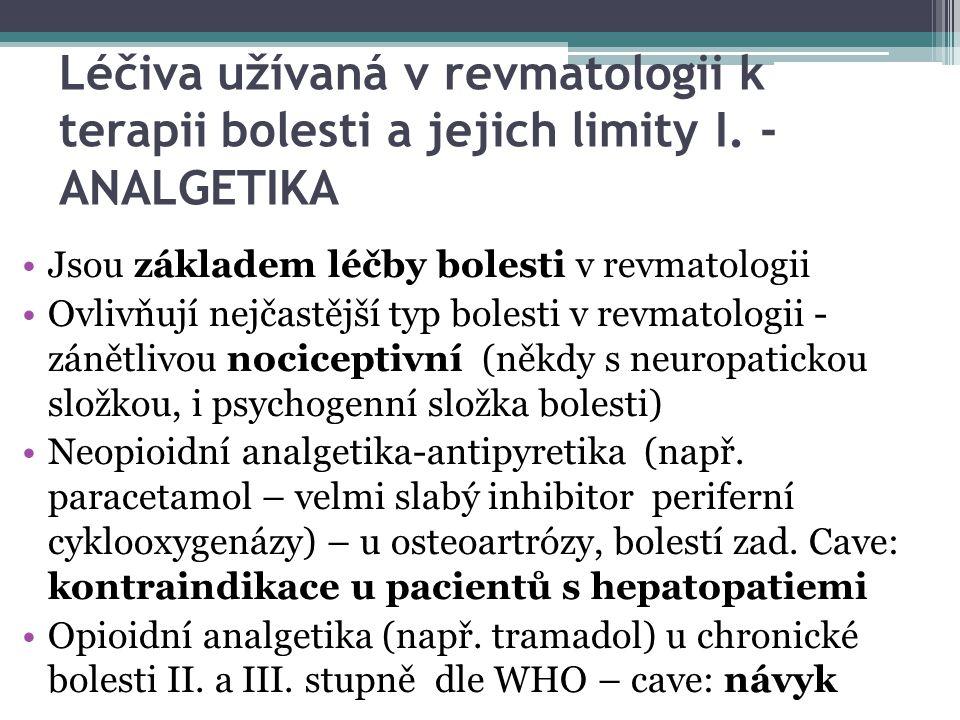 Léčiva užívaná v revmatologii k terapii bolesti a jejich limity I