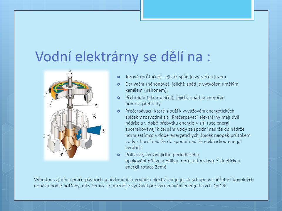 Vodní elektrárny se dělí na :
