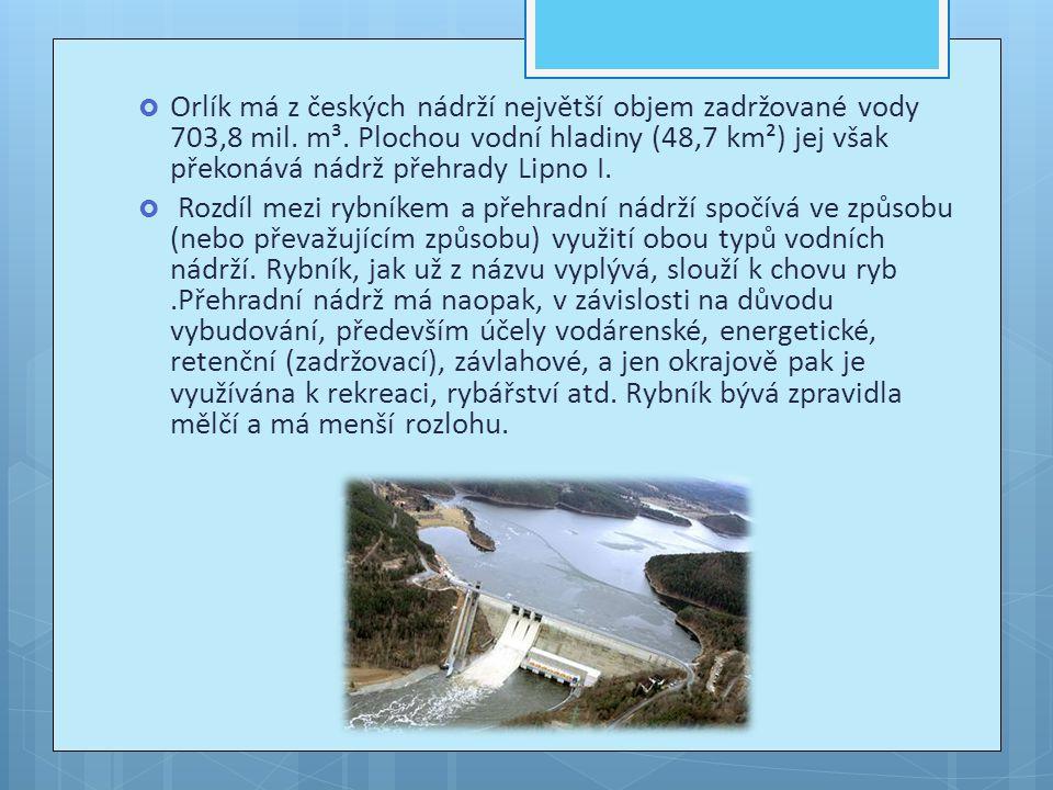 Orlík má z českých nádrží největší objem zadržované vody 703,8 mil. m³