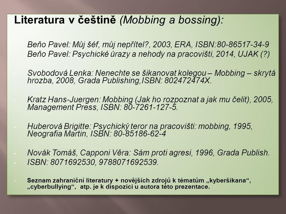 Literatura v češtině (Mobbing a bossing):