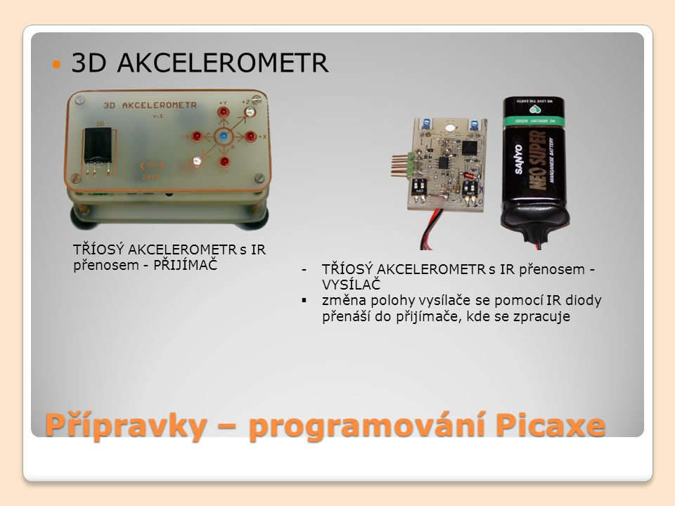 Přípravky – programování Picaxe