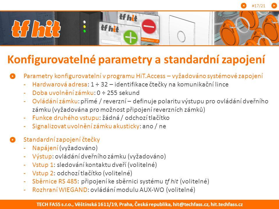 Konfigurovatelné parametry a standardní zapojení