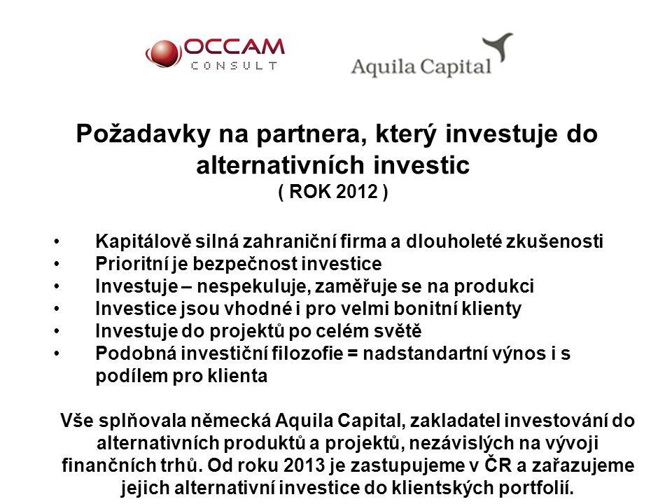 Požadavky na partnera, který investuje do alternativních investic ( ROK 2012 )